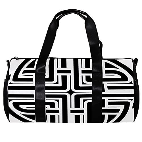 Round Gym Sports Duffel Bag with Detachable Shoulder Strap Monochrome Celtic Pattern Training Handbag Overnight Bag for Women and Men