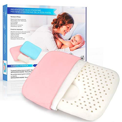 Entanglement® Almohada Bebe plagiocefalia - Latex 100% Natural - para prevenir o Curar la Cabeza Plana - Cojin Infantil para Cuna o Cochecito con Funda de Algodon - antiasfixia (Rosa)