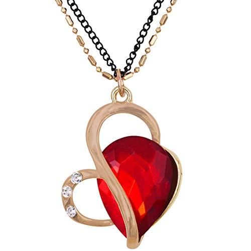Collar para Mujer,Collar con Colgante de corazón de Amor para Mujer, Joyas de Moda de Oro Rosa para Mujer, Collares, joyería, Regalos de cumpleaños para Esposa, Madre, Hija