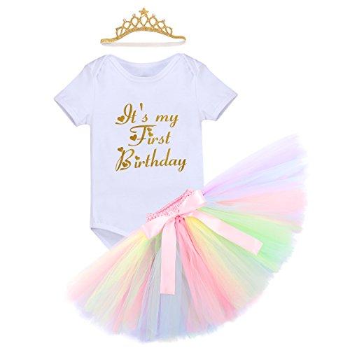Baby Mädchen Einhorn Geburtstag Kostüm Kleinkinder 1. Geburtstag Outfit Neugeborenen Prinzessin Strampler Body Regenbogen Tütü Rock Einhorn Stirnband 3tlg Bekleidungssets für Fotografie 12-18M