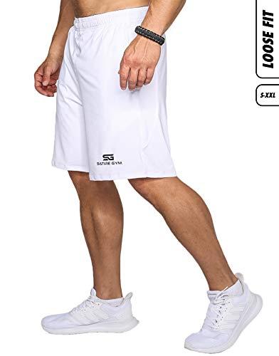 Satire Gym Loose Fit Shorts Herren - Kurze Sport Hose - Bekleidung geeignet für Fitness, Workout & Training, weiß, L