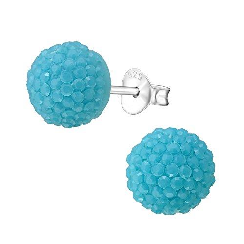 Laimons Pendientes para mujer de media esfera brillante azul turquesa plata de ley 925