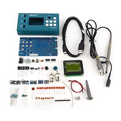 Osciloscopio de almacenamiento digital, kit de bricolaje de osciloscopio de almacenamiento digital, piezas desmontadas con juego de enseñanza de sonda LCD de 20 MHz