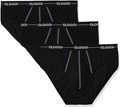 Sloggi for Men SLM Start Midi C3p Bóxer, Negro (Black 04), Medium (Talla del Fabricante: 5) para Hombre
