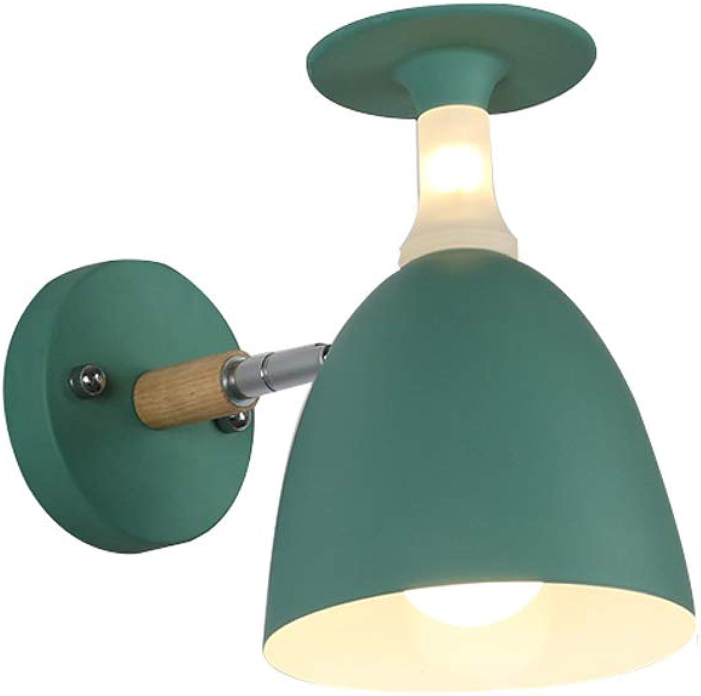 LED verstellbare Wandleuchten, Nordic Iron Massivholz Beleuchtung Lesung Hngelampe Wandlampen Moderne kreative Schlafzimmer Studie Nachtwandleuchte, Grau, Grün, Wei (Design   A)