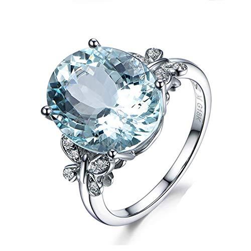 AnazoZ Anillos Mujer Compromiso Plata Azul Claro Anillo Oro Blanco Mujer 18K Anillo Oval con Mariposa Aguamarina Azul 2.35ct Diamante Blanco 0.08ct Talla 20