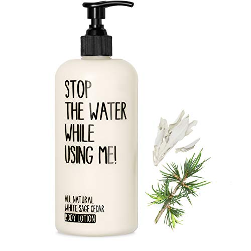 STOP THE WATER WHILE USING ME! All Natural Orange White Sage Cedar Body Lotion (200ml), vegane Körpercreme im nachfüllbaren Spender, mit sanftem Salbei-Zedernholz-Duft