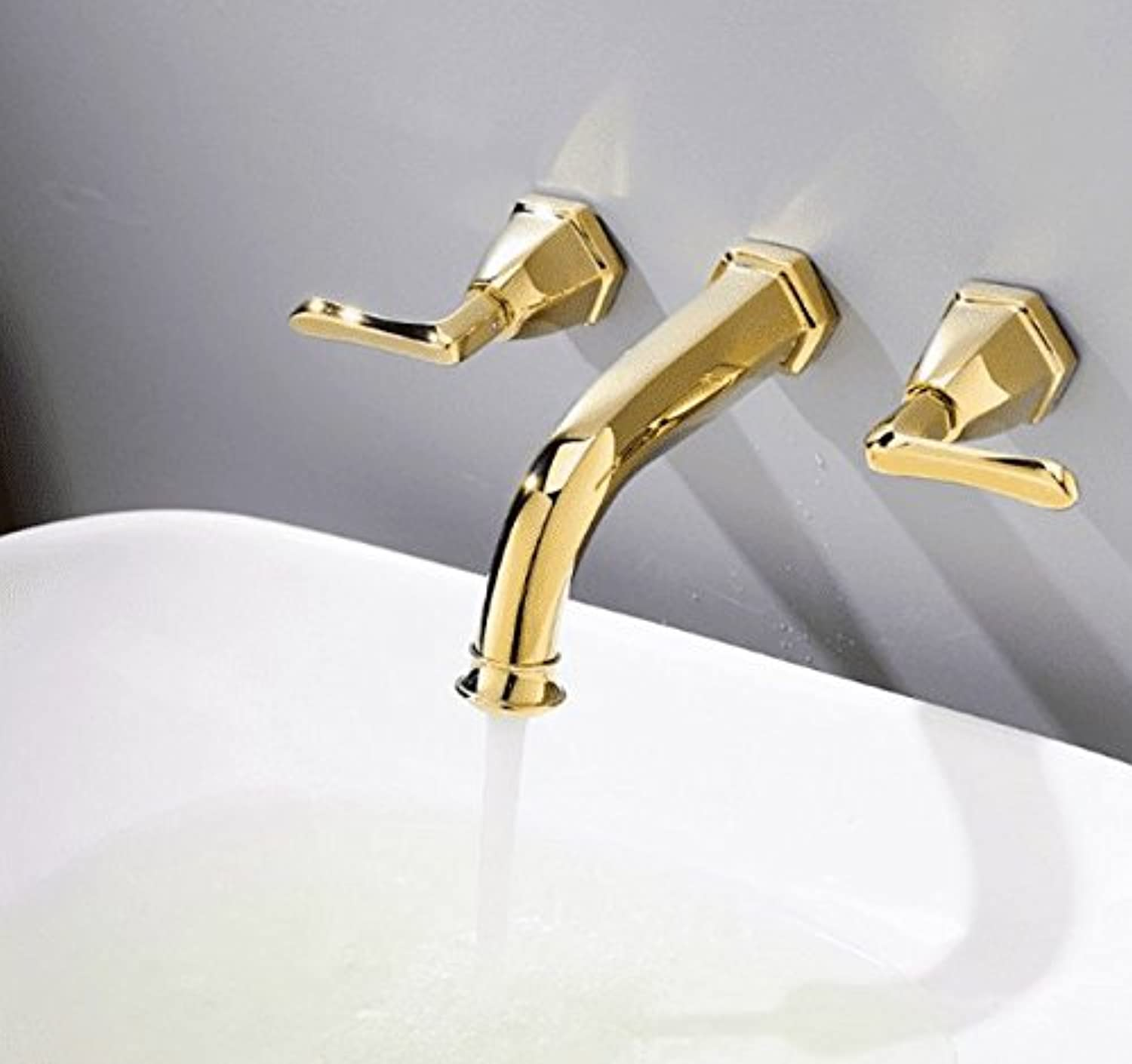 All Copper Three Three Three Holes Into The Wall, Hot and Cold Water Faucet, Dark Basin, Faucet, gold, European Three Hole Faucet. 119d68