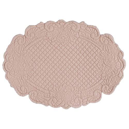 Blanc Mariclò Set Tovaglietta Americana Ovale Stile Shabby Chic, Centrino Sottopiatto Trapuntato Rosa, Collezione Carmen