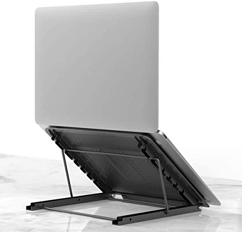 King Ma Laptop Stand, Adjustable Laptop Cooling Desk Holder, Portable Notebook Riser Mount, Ventilated Foldable Ergonomic Computer Stand Tray Mount for All Laptops & Tablets (Black)