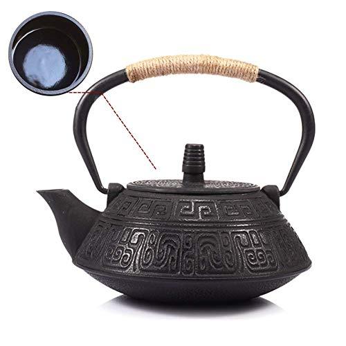 XHCP Tetera de cerámica retro de hierro fundido con interior esmaltado antioxidante, tetera de agua hirviendo Tetera 900 ml, para oficinas domésticas como regalo