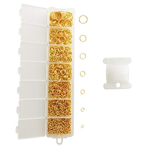 FANGZI 1450PCS Open Jump Rings Kit (3 4 5 6 7 8 10 mm) with 20 Meter Thread for Jewelry Making Repair DIY - Gold