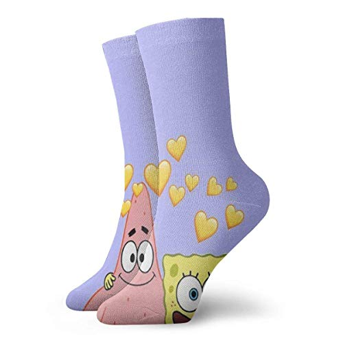 v-kook-v Herren Crew Socken Spongebob Schwammkopf und Patrick Painting Compression Socks White Cushion Athletic Socks