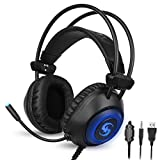 Gaming Headset PS4 Headset Over Ear Headphones Soft Earmuffs Noise Cancelling Stereo Earphone with Mic LED Light Immersive Audio Gamer Gaming Headphone for PS4 PC Xbox One Laptop Computer