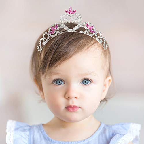 SWEETV Baby Girls 1st Birthday Tiara Headband, Pink Infant First Birthday Crown Party Hat, Rhinestone Princess Hairband for Kids