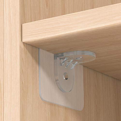Longrep 10PCS Supporto per mensola Pioli Supporto per mensola Pioli adesivi Armadio per armadio Clip di supporto per mensola Clip per mensola in plastica per libreria Mobili Cucina divisoria