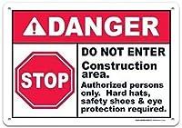 注意サイン-危険建設エリアに入らないでください。 通行の危険性屋外防水および防錆金属錫サイン