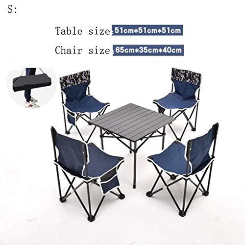 Zhangmeiren Outdoor-Picknick-Tisch Tragbare Outdoor-Camping Faltbare Leichte Aluminium-Tische Tische Stühle Klapptisch Zusammensetzung (Color : Blue, Size : S)