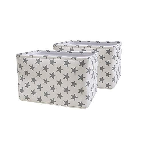 BrilliantJo 2er Set Aufbewahrungsbox aus Stoff, groß Boxen Faltbarer Ordnungsbox, dickwandiger Aufbewahrung Kisten mit Handgriff für Kleidung, Spielzeug (Waschbar, 40 * 30 * 25cm, Weiß)