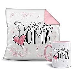 Geschenkset für die Weltbeste Oma - Tasse und Kissen - Altrosa/Verwandte/Geschenk-Idee/Liebling/Familie