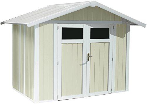 #Kunststoff-Gartenhaus Deco H4,9 grau/grün/weiß, 242×202 cm#