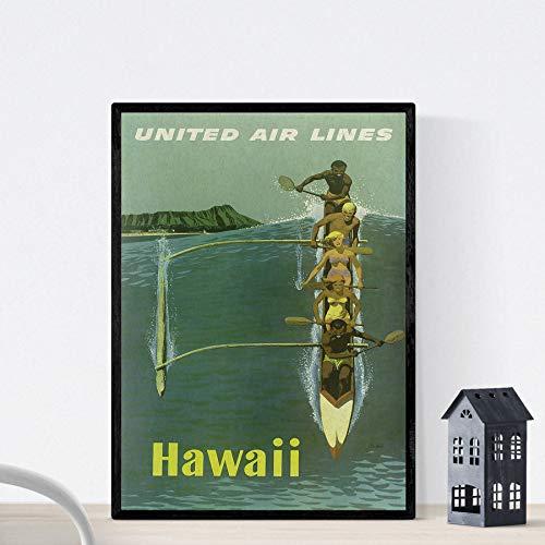 Vintage poster Nacnic. Vintage poster kajak in Hawaï. A3-formaat