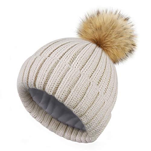 HATOOZE Sombrero de Invierno de Punto para Mujeres - Sombrero de Bola con Forro Polar de Doble Capas con Pom de Piel Sintética Desmontable [Beige - Talla única]