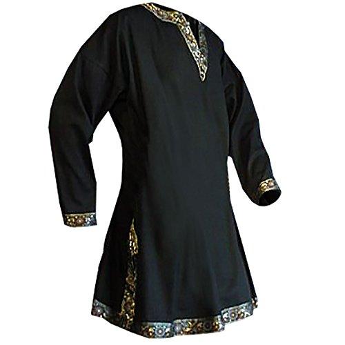 uomini medievali tunica a maniche lunghe nera GRV abito m. spacco laterale - XXL