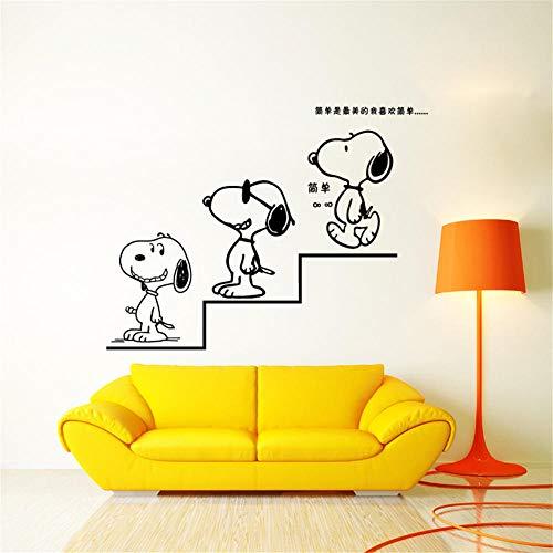 TeriliziPegatinas De Pared De Dibujos Animados Snoopy Para Habitaciones De Niños Pegatina Decorativa Pegatina De Pared Etiqueta De Pared De Pvc Extraíble-58 * 88