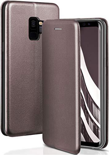 ONEFLOW Handyhülle kompatibel mit Samsung Galaxy S9 - Hülle klappbar, Handytasche mit Kartenfach, Flip Hülle Call Funktion, Klapphülle in Leder Optik, Taupe
