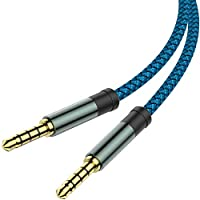 2-Pack MCSPER 5-Feet 3.5mm Nylon Braided Auxiliary Cable (Blue)