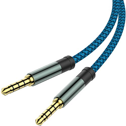 2 Pack TRRS 3.5mm Audio Cable, 5Ft MCSPER 4-Conductor (4 Pole) with Mic[Microphone Compatible] Nylon Braided Aux Cord Compatible Car Home Stereos,Speaker,Headphones,Sony(Blue)