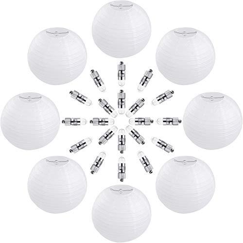 Vastar 10 Packs 12 Inch White Round Paper Lanterns, 20 Packs White LED Party Lights for Paper Lanterns and Extra 60 LED light Batteries