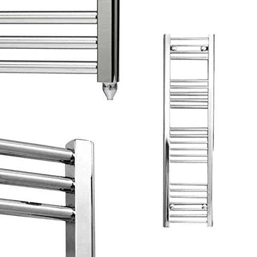 Richmond Radiators Bellerby - Toallero eléctrico recto, para baño, cocina, tamaño pequeño, mediano y grande, prellenado y listo para instalar, IP67 a prueba de salpicaduras, cromado, 1200 x 300