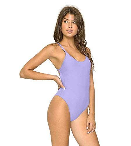 PilyQ LAVENDER Reversible Seamless Lux One Piece Swimsuit, US Large