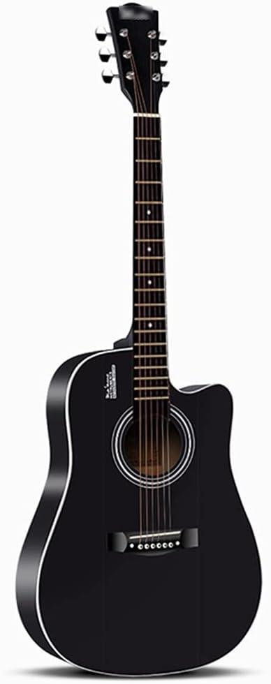 YYFANG Guitarra Acústica, Guitarra acustica Diapasón de Palisandro Pintura Mate Tipo de Barril Abeto Paso de Cuerda Ajustable Afinación de Alta precisión (Color : Black, Size : 41inches)