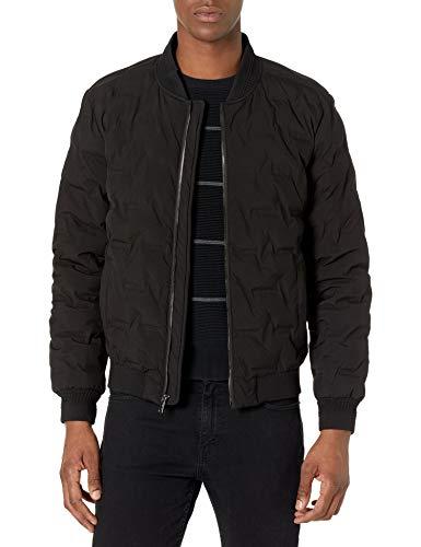 Karl Lagerfeld Paris Herren Quilted Bomber Gesteppte Jacke, schwarz, Large