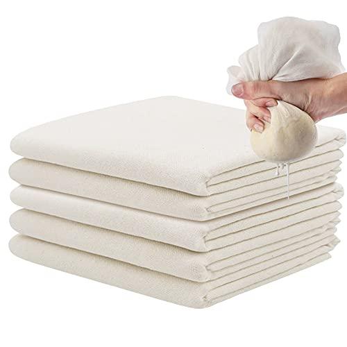 5 x Telas Filtrantes, Cheese Cloth, Paños de Muselina, Reutilizable Tela para Queso, Colador Tela sin Blanquear para Frutas Vino Leche de Nuez Tofu Frutas Jugo, 50 x 50cm