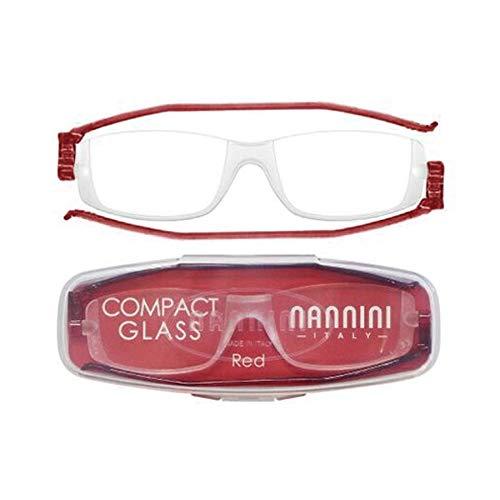老眼鏡 コンパクトグラス2 nannini リーディンググラス 男性用 女性用 メンズ レディース シニアグラス 全12色(+3.50,レッド)