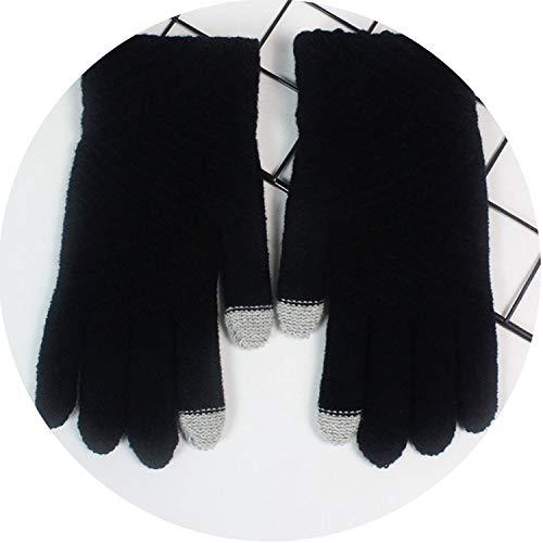 Small-shop-gloves Damen Winterhandschuhe aus Wolle gestrickt, mit Touchscreen-Handschuhe, Damen, schwarz, oneszie