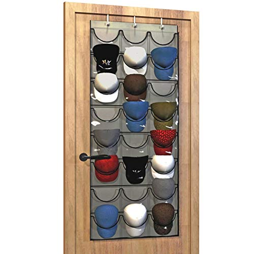 Baseball Hat Rack from Unjumbly, 24 Pocket Over-The-Door Cap Organizer with Clear Deep Pockets to Protect, Store and Display Your Baseball Cap Collection, Complete with Over Door Hooks