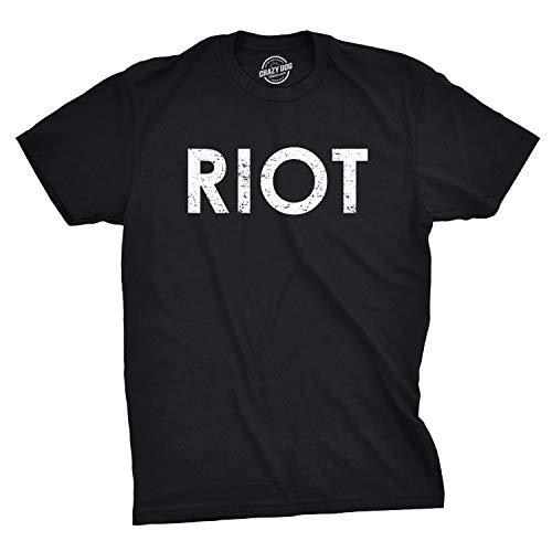 Crazy Dog Tshirts - Riot T Shirt Funny Shirts for Men Political Novelty Sarcastic Adult Tees Humor (Black) - M - Herren - M