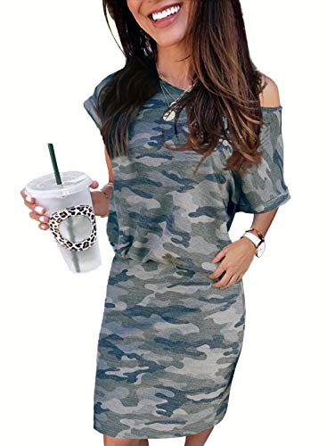 Biucly Women's Summer Dresses Casual One Shoulder Crew Neck Short Sleeve Loose Ruched Stretchy Bodycon T-Shirt Camo Sexy Mini Dress for Women,US 4-6(S),Grey