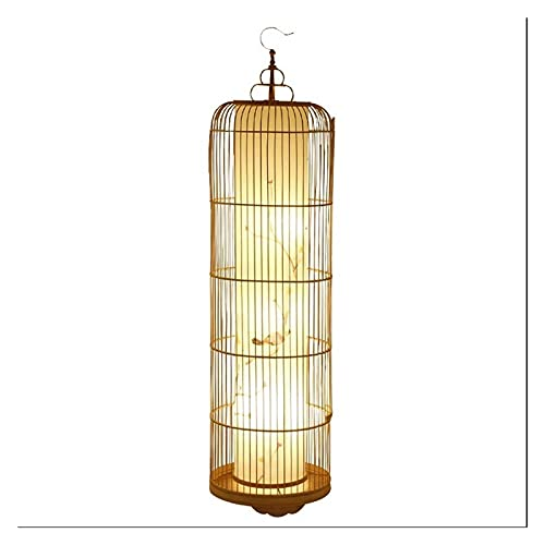 SXRKRZLB Lámparas de pie Arte de bambú Lámpara Creativa Jaula de pájaro China de Estilo Lámpara de pie Estudio Dormitorio Sala de Estar de la lámpara Negro (Size : 70cm)