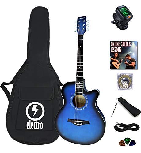 Columbus CW 40' satin BLUEBURST electro electric cutaway Western acoustic...