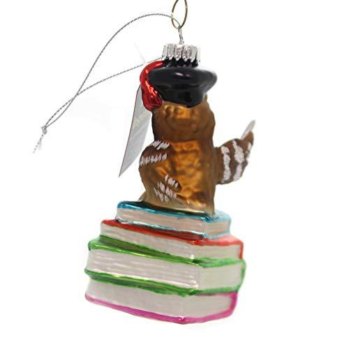 "Christbaumkugeln Kugel ""Eule auf Bücherstapel"" – Krebs Glas Lauscha - 2"
