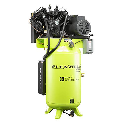 Flexzilla Pro Air Compressor with Silencer, Stationary, 7.5 HP, 80 Gallon, 1-Phase, 2-Stage, Vertical - FXS07V080V1