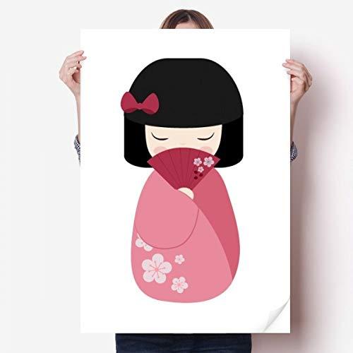 DIYthinker Pink Kimono Fan Sakura Japan Vinyl Muursticker Poster muurschildering behang kamer Decal 80X55Cm