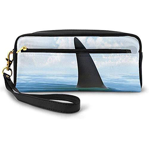 Aileron de Poisson de Requin sur la Surface de la mer Danger Attention Image sur Le thème Petit Sac de Maquillage avec étui à Crayons à glissière 20 cm * 5,5 cm * 8,5 cm