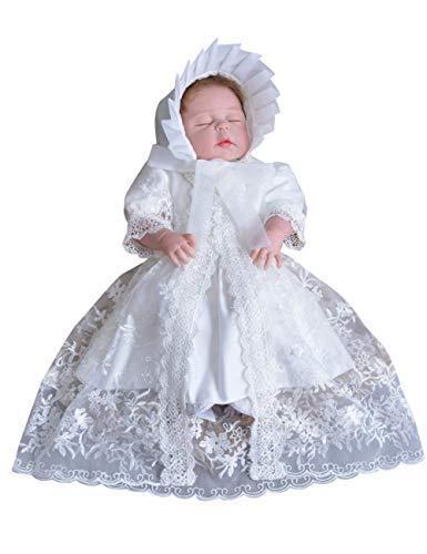 Zhhlinyuan Bébé Filles Dentelle Ébouriffer Bowknot Baptême Anniversaire Robe - Enfant Princesse Mariage Robes de Tutu Manche Courte